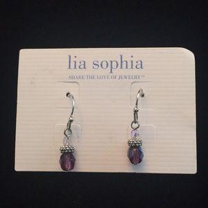 Lia Sophia Purple crystal earrings